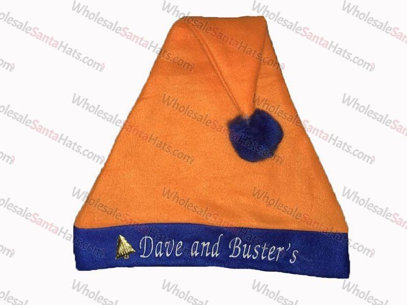 Orange Bulk Santa Hat Blue Brim